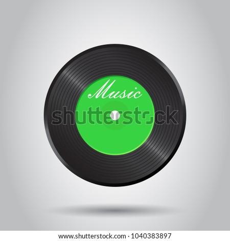 Vinyl disk. Music disk vector illustration. Sound record. Business concept simple flat pictogram on isolated background.
