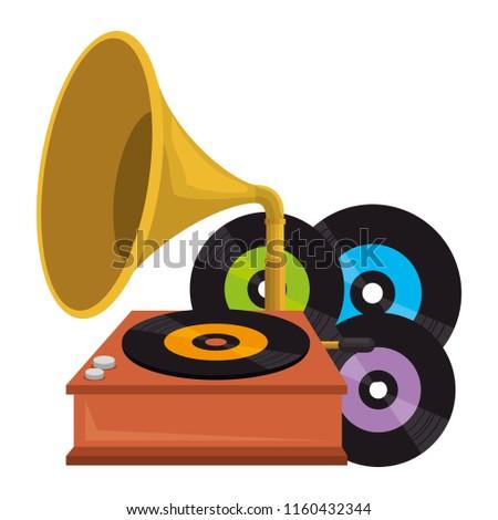 vinyl disks with gramophone
