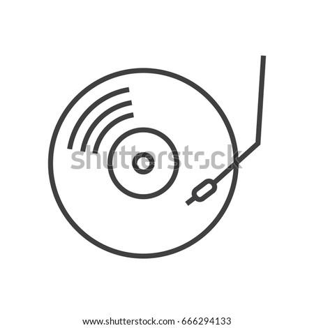 Vinyl flat line icon. Music record.