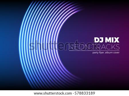 vinyl grooves as neon lines