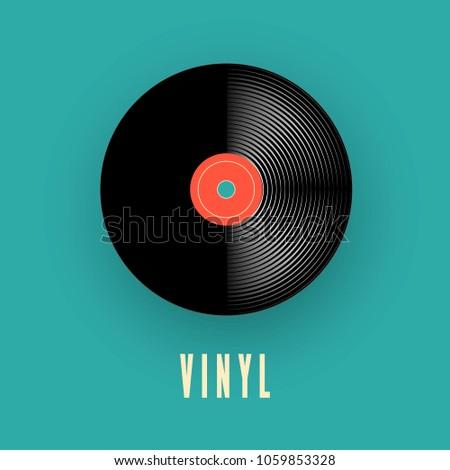 Vinyl music record. old vintage gramophone record. Vector illustration