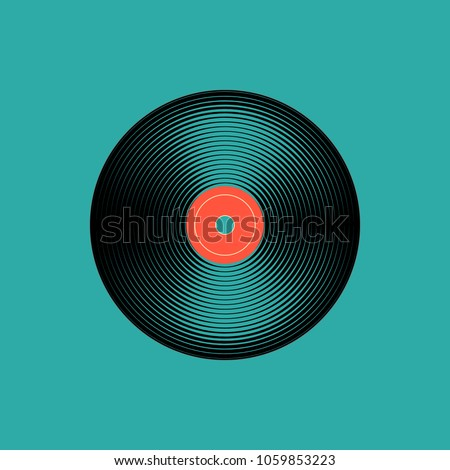 Vinyl music record. vintage gramophone disc. Vector illustration