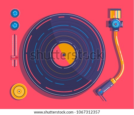 Vinyl player in the style of pop art view from above