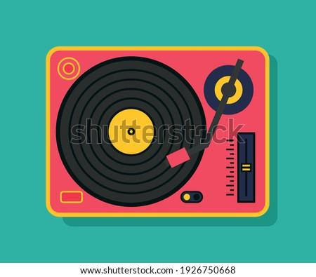 Vinyl player turntable icon. Retro style, party, dj music Stockfoto ©