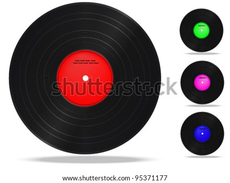 Vinyl record. Collection on a white background.