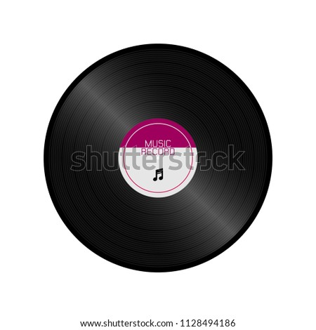 Vinyl record disc retro style isolated vector on white background