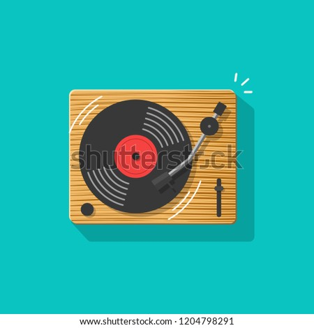 Vinyl record player vector illustration, flat cartoon retro vintage turntable playing melody icon isolated