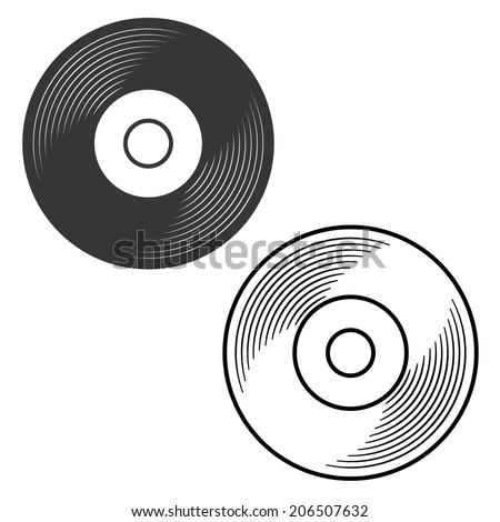 Vinyl record silhouette and outline illustration vector