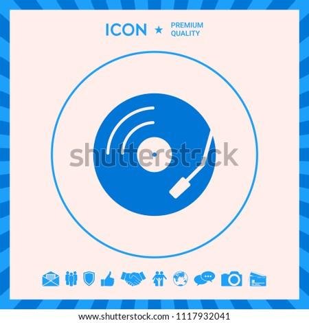 Vinyl record turntable icon