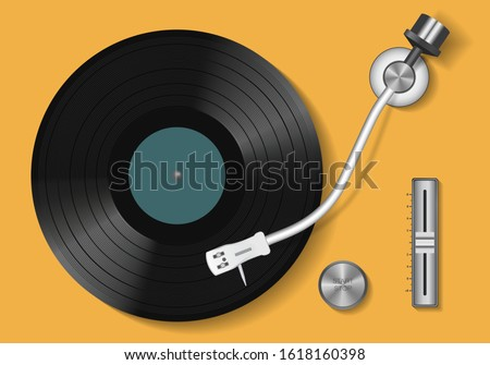 Vinyl record. Vintage record player and retro vinyl disc. Realistic