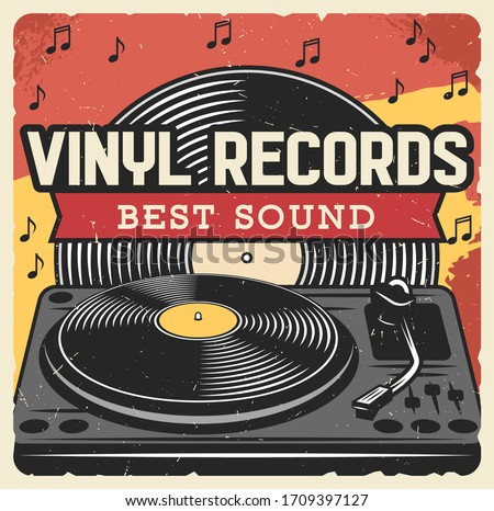 vinyl records and music player