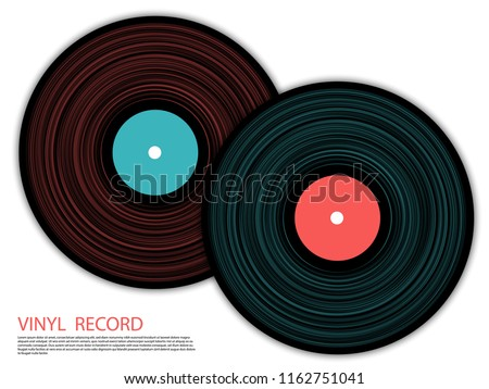 Vinyl records isolated vector musical album cover template. Cool music symbols, vintage style vinyl records vector illustration in black, pink and blue. DJ jukebox plastic elements, music disk logo.
