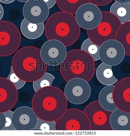 Vinyl records, stylish illustration seamless pattern