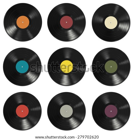 vinyl records with colorful