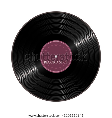 vinyl shop label vector