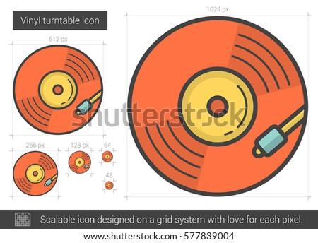 vinyl turntable vector line