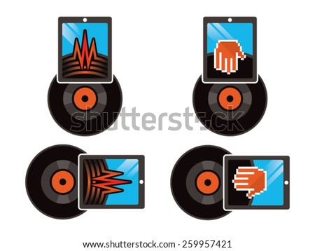 Vinyl Vector illustration, an illustration that connects the old vinyl technology with the modern tablets technology. Including two versions, one with a scratching hand and another with a sound wave.