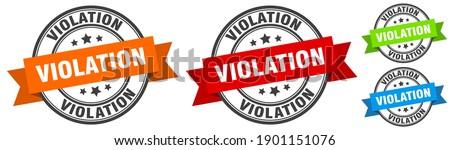 violation stamp. violation round band sign set. Label Stockfoto ©