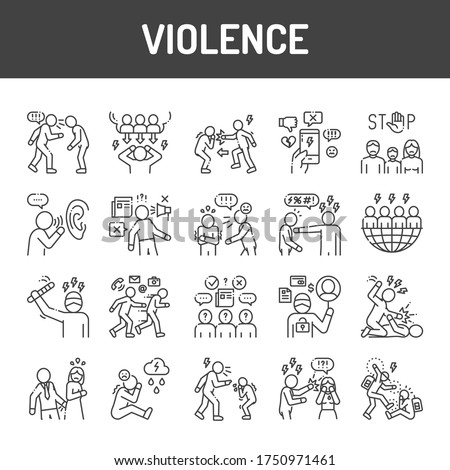 Violence black line icons set. Harassment, social abuse and bullying. Signs for web page, mobile app, button, logo. Editable stroke.