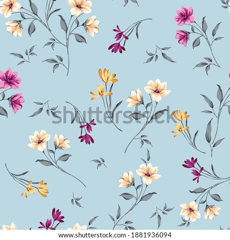 violet and cream small vector flowers leaves bunches pattern on blue background
