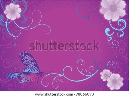 violet butterfly and flowers on dark background