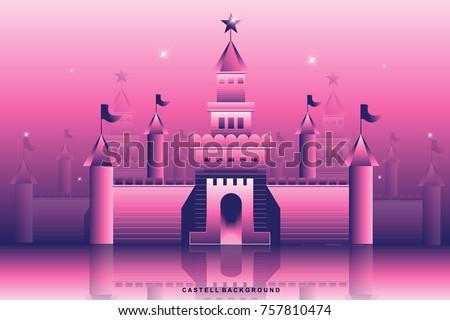 violet castle background vector