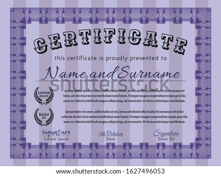 Violet Certificate of achievement. With background. Customizable, Easy to edit and change colors. Perfect design.
