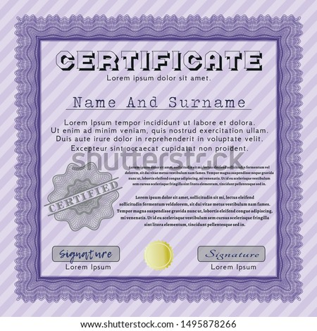 Violet Certificate template or diploma template. Superior design. With linear background. Customizable, Easy to edit and change colors.