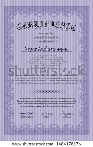 Violet Certificate template. Printer friendly. Cordial design. Customizable, Easy to edit and change colors.