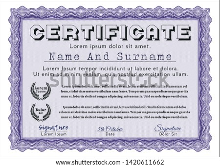 Violet Diploma or certificate template. Customizable, Easy to edit and change colors. Printer friendly. Superior design.