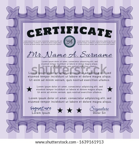 Violet Diploma or certificate template. Customizable, Easy to edit and change colors. Printer friendly. Modern design.
