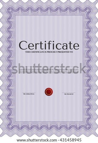 Violet Diploma or certificate template. Lovely design. With complex background. Vector illustration.