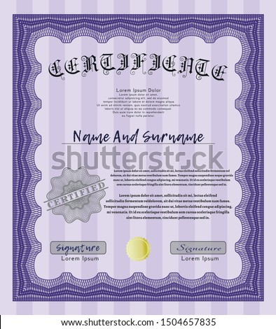 Violet Diploma or certificate template. With linear background. Customizable, Easy to edit and change colors. Lovely design.