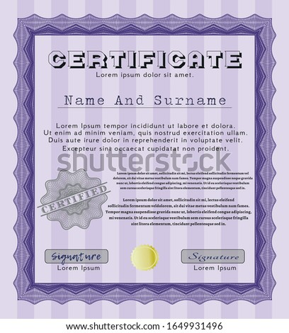 Violet Diploma template or certificate template. Cordial design. Customizable, Easy to edit and change colors. Printer friendly.