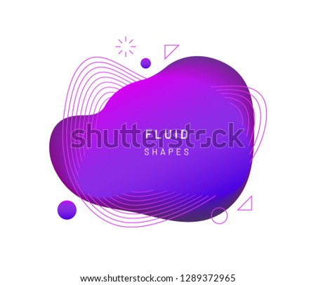 Violet dynamic light on fluid blotch. Gradient liquid blob with circles, triangle and wavy lines. Modern abstract background for card design or logo template. Dynamical colored shapes