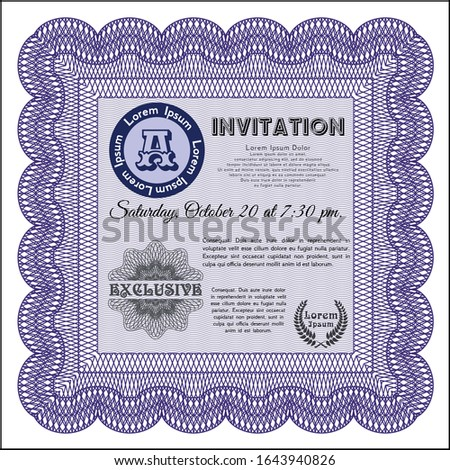 Violet Formal invitation. Money Pattern design. Printer friendly. Customizable, Easy to edit and change colors.