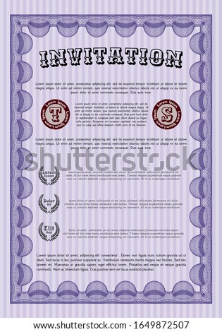 Violet Formal invitation. Money style design. Customizable, Easy to edit and change colors. Printer friendly.
