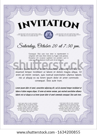 Violet Formal invitation template. Customizable, Easy to edit and change colors. With background. Good design.