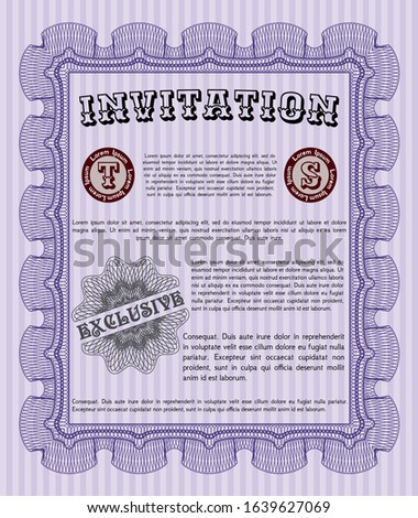 Violet Formal invitation template. Customizable, Easy to edit and change colors. With great quality guilloche pattern. Money Pattern.