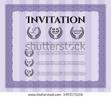 Violet Formal invitation template. Excellent design. With complex background. Customizable, Easy to edit and change colors.