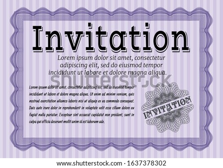 Violet Formal invitation. With great quality guilloche pattern. Lovely design. Customizable, Easy to edit and change colors.