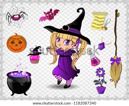 stock-vector-violet-halloween-cartoon-set-of-various-objects-for-witches-and-cute-little-witch-in-costume-and