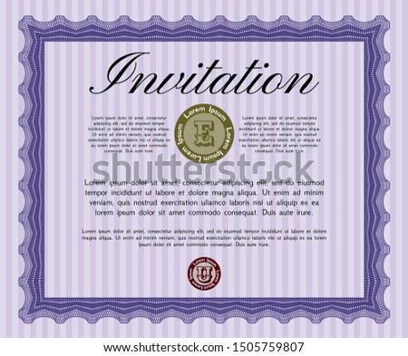 Violet Invitation. Customizable, Easy to edit and change colors. Printer friendly. Money design.