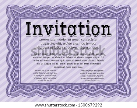 Violet Invitation. Customizable, Easy to edit and change colors. With complex background. Money style design.