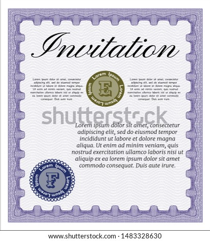 Violet Invitation. Customizable, Easy to edit and change colors. With quality background. Money style design.