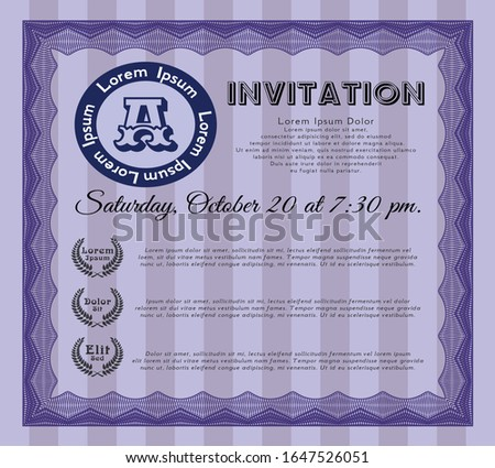 Violet Invitation. Lovely design. Printer friendly. Customizable, Easy to edit and change colors.