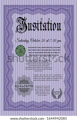 Violet Invitation. Money Pattern design. Customizable, Easy to edit and change colors. With linear background.