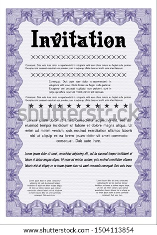 Violet Invitation. With background. Customizable, Easy to edit and change colors. Elegant design.