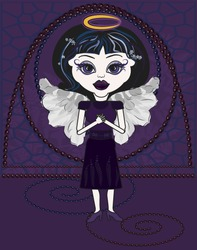 Violet is a fun character illustration of a Gothic Angel praying.