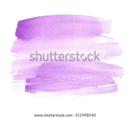 Violet isolated watercolor hand drawn paper texture stain on white background for text design, web, label. Abstract aquarelle vivid color dry brush paint striped vector element for card, backdrop, tag